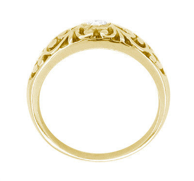 Edwardian 14 Karat Yellow Gold Filigree Diamond Ring - Item: R197Y - Image: 1