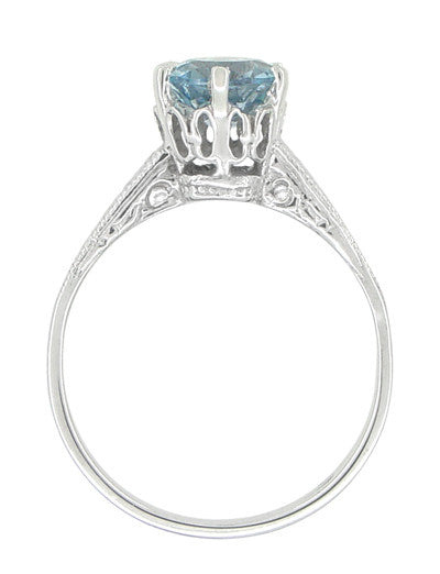 Art Deco Crown 1 Carat Solitaire Aquamarine Engagement Ring in 18 Karat White Gold - Item: R199A - Image: 2