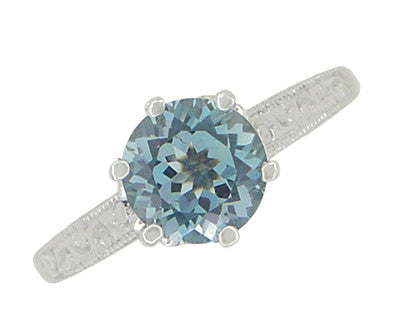 Art Deco Crown 1 Carat Solitaire Aquamarine Engagement Ring in 18 Karat White Gold - Item: R199A - Image: 4