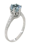 Art Deco Crown 1 Carat Solitaire Aquamarine Engagement Ring in 18 Karat White Gold