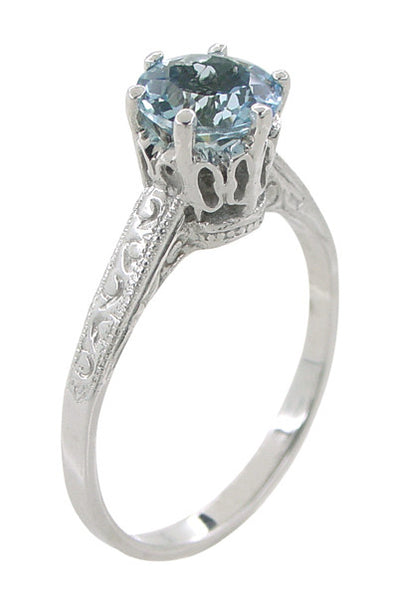 Art Deco 1 Carat Crown Aquamarine Engagement Ring In 18
