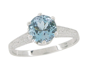 Art Deco 1 Carat Crown Aquamarine Engagement Ring in 18 Karat White Gold