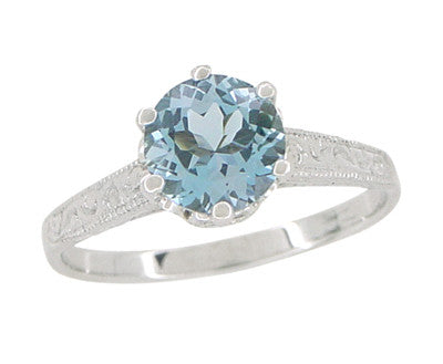 Art Deco Crown 1 Carat Solitaire Aquamarine Engagement Ring in 18 Karat White Gold - Item: R199A - Image: 1