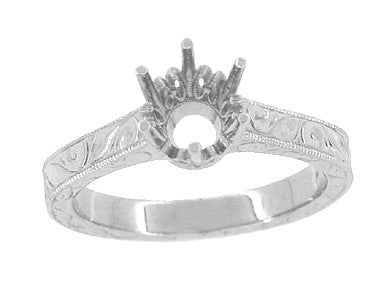 Art Deco 1 Carat Crown Filigree Scrolls Engagement Ring Setting in Platinum - Item: R199P1 - Image: 2