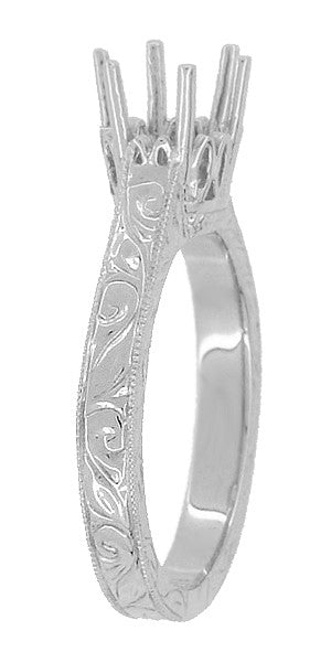 Art Deco 1 Carat Crown Filigree Scrolls Engagement Ring Setting in Platinum - Item: R199P1 - Image: 3