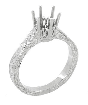 Art Deco 1 Carat Crown Filigree Scrolls Engagement Ring Setting in Platinum