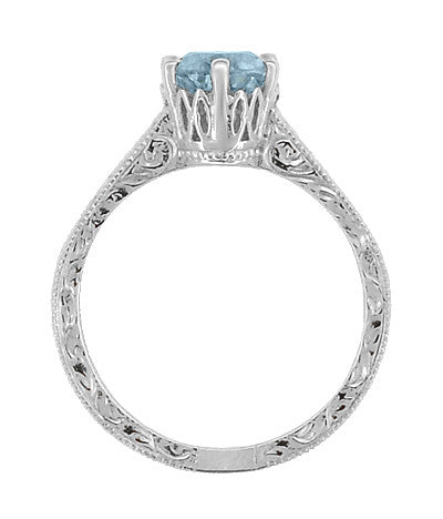 Art Deco Crown Filigree Scrolls 1 Carat Aquamarine Engraved Engagement Ring in Platinum - Item: R199P1A - Image: 3