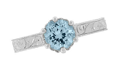 Art Deco Crown Filigree Scrolls 1 Carat Aquamarine Engraved Engagement Ring in Platinum - Item: R199P1A - Image: 5
