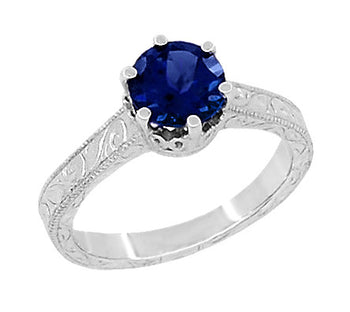 Art Deco Crown Filigree Scrolls 1.5 Carat Blue Sapphire Engraved Engagement Ring in Platinum