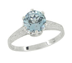 Art Deco Filigree Crown 1 Carat Aquamarine Engagement Ring in Platinum