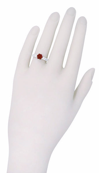 Art Deco Crown Filigree Scrolls 1.5 Carat Almandine Garnet Engagement Ring in Platinum - Item: R199PAG - Image: 5