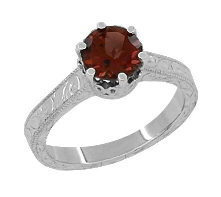 Art Deco Crown Filigree Scrolls 1.5 Carat Almandine Garnet Engagement Ring in Platinum - Item: R199PAG - Image: 1