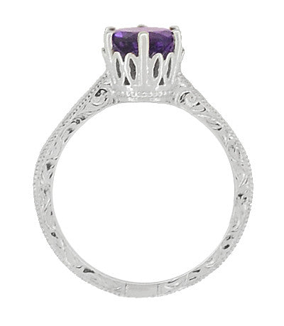 Art Deco Crown Filigree Scrolls Amethyst Engagement Ring in Platinum - Item: R199PAM - Image: 3