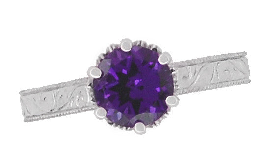 Art Deco Crown Filigree Scrolls Amethyst Engagement Ring in Platinum - Item: R199PAM - Image: 5