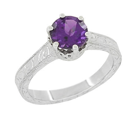 Art Deco Crown Filigree Scrolls Amethyst Engagement Ring in Platinum - Item: R199PAM - Image: 1
