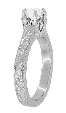 Art Deco Crown Filigree Scrolls Engraved 3/4 Carat Solitaire Diamond Engagement Ring in Platinum - Item: R199PD75 - Image: 3