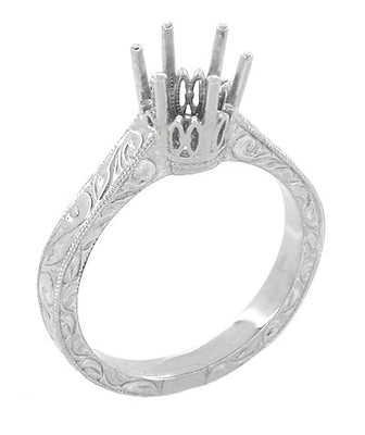 Art Deco Engraved 950 Palladium 3/4 Carat Crown Engagement Ring Setting