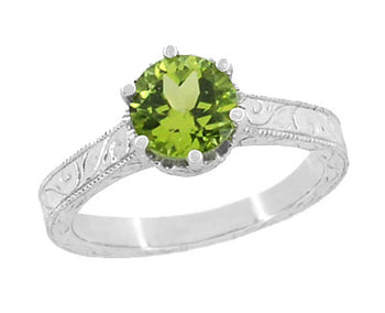Art Deco Crown Filigree Scrolls Peridot Engagement Ring in Platinum