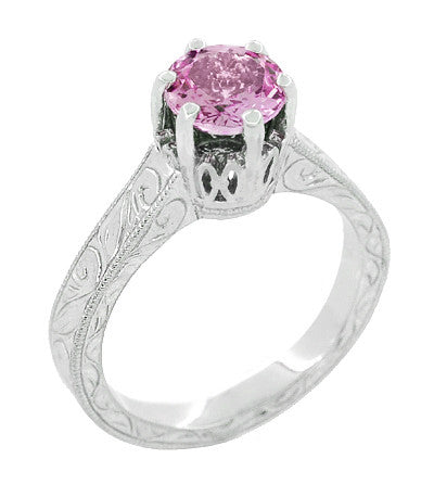 Art Deco Crown Filigree Scrolls 1 Carat Pink Sapphire Engraved Engagement Ring in Platinum - Item: R199PPS - Image: 2