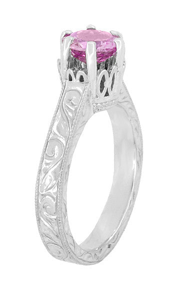 Art Deco Crown Filigree Scrolls 1 Carat Pink Sapphire Engraved Engagement Ring in Platinum - Item: R199PPS - Image: 3
