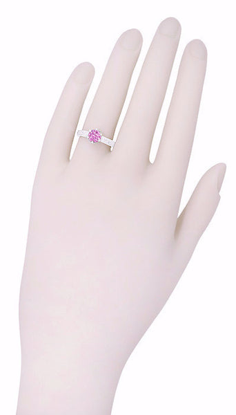 Art Deco Crown Filigree Scrolls 1 Carat Pink Sapphire Engraved Engagement Ring in Platinum - Item: R199PPS - Image: 6