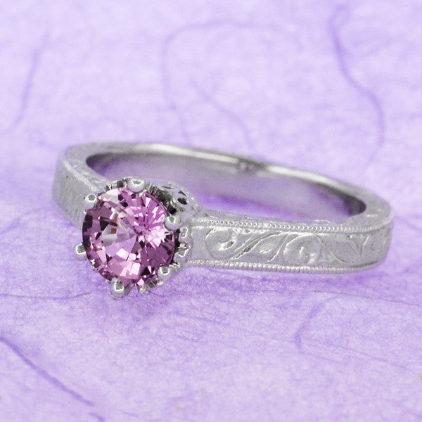 Art Deco Crown Filigree Scrolls 1 Carat Pink Sapphire Engraved Engagement Ring in Platinum - Item: R199PPS - Image: 7