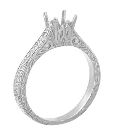 Art Deco 1/2 Carat Crown Scrolls Filigree Engagement Ring Setting in Platinum - Item: R199PRP50 - Image: 3