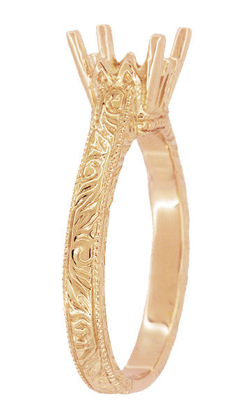 Art Deco 1 - 1.50 Carat Crown Scrolls Filigree Engagement Ring Setting in 14 Karat Rose Gold - Item: R199PRR1 - Image: 2