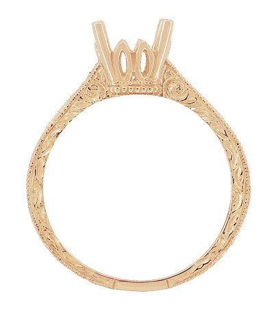 Art Deco 1 - 1.50 Carat Crown Scrolls Filigree Engagement Ring Setting in 14 Karat Rose Gold - Item: R199PRR1 - Image: 4