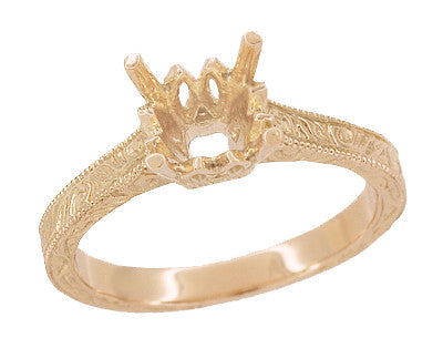 Art Deco 1 - 1.50 Carat Crown Scrolls Filigree Engagement Ring Setting in 14 Karat Rose Gold - Item: R199PRR1 - Image: 1