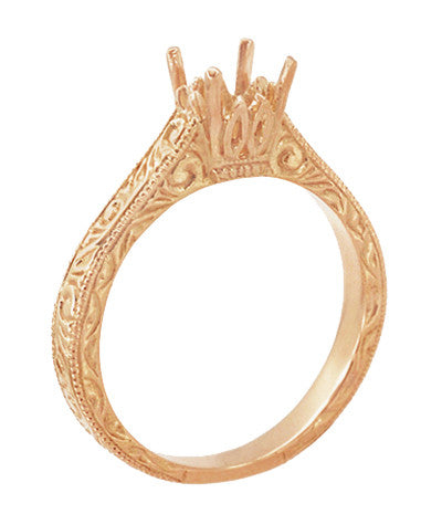 Art Deco 1/2 Carat Crown Scrolls Filigree Engagement Ring Setting in 14 Karat Rose Gold - Item: R199PRR50 - Image: 3