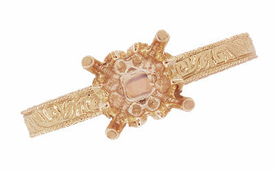 Art Deco 1/2 Carat Crown Scrolls Filigree Engagement Ring Setting in 14 Karat Rose Gold - Item: R199PRR50 - Image: 5