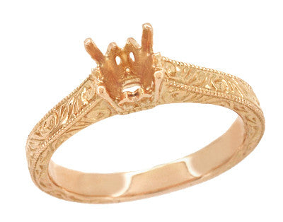 Art Deco 1/2 Carat Crown Scrolls Filigree Engagement Ring Setting in 14 Karat Rose Gold - Item: R199PRR50 - Image: 1