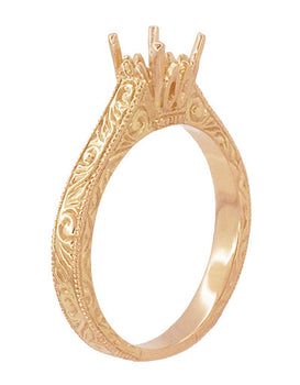 Art Deco 3/4 Carat Crown Scrolls Filigree Engagement Ring Setting in 14 Karat Rose Gold