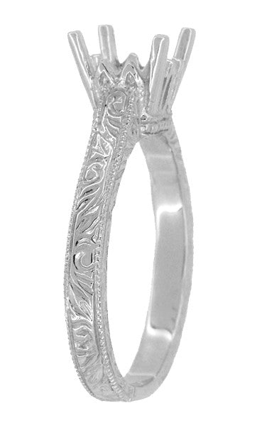Art Deco 1 - 1.50 Carat Crown Scrolls Filigree Engagement Ring Setting in 18 Karat White Gold - Item: R199PRW1 - Image: 2