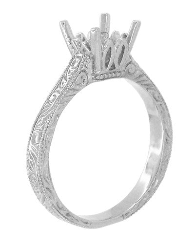 Art Deco 1 - 1.50 Carat Crown Scrolls Filigree Engagement Ring Setting in 18 Karat White Gold - Item: R199PRW1 - Image: 3