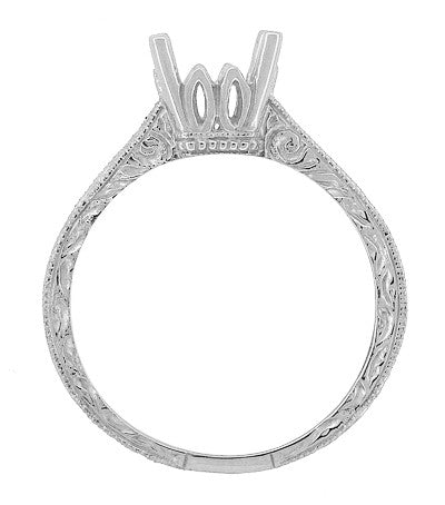 Art Deco 1 - 1.50 Carat Crown Scrolls Filigree Engagement Ring Setting in 18 Karat White Gold - Item: R199PRW1 - Image: 4