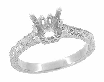 Art Deco 1 - 1.50 Carat Crown Scrolls Filigree Engagement Ring Setting in 18 Karat White Gold - Item: R199PRW1 - Image: 1
