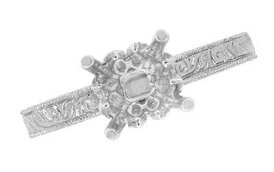 Art Deco 1.50 - 1.75 Carat Crown Filigree Scrolls Engagement Ring Setting in 18 Karat White Gold - Item: R199PRW125 - Image: 5