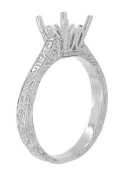 Art Deco 1.50 - 1.75 Carat Crown Filigree Scrolls Engagement Ring Setting in 18 Karat White Gold