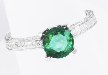 Crown Scrolls Filigree Art Deco 1 Carat Emerald Solitaire Engagement Ring in 18 Karat White Gold