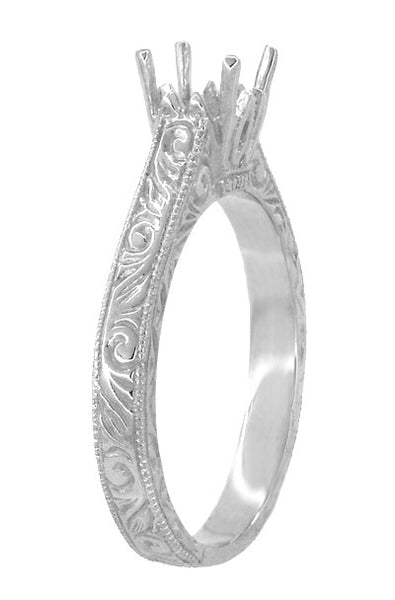Art Deco 1/2 Carat Crown Scrolls Filigree Engagement Ring Setting in 18 Karat White Gold - Item: R199PRW50 - Image: 2