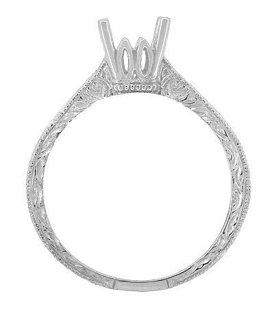 Art Deco 1/2 Carat Crown Scrolls Filigree Engagement Ring Setting in 18 Karat White Gold - Item: R199PRW50 - Image: 4