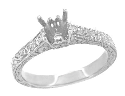 Art Deco 1/2 Carat Crown Scrolls Filigree Engagement Ring Setting in 18 Karat White Gold - Item: R199PRW50 - Image: 1