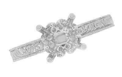 Art Deco 3/4 Carat Crown Scrolls Filigree Engagement Ring Setting in 18 Karat White Gold - Item: R199PRW75 - Image: 4