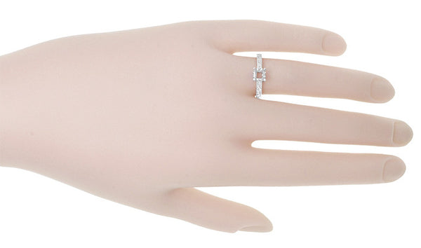 Art Deco 3/4 Carat Crown Scrolls Filigree Engagement Ring Setting in 18 Karat White Gold - Item: R199PRW75 - Image: 5