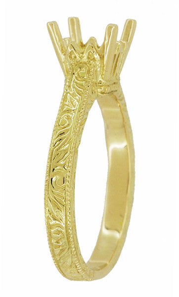 Art Deco 1.50 - 1.75 Carat Crown Filigree Scrolls Engagement Ring Setting in 18 Karat Yellow Gold - Item: R199PRY125 - Image: 2