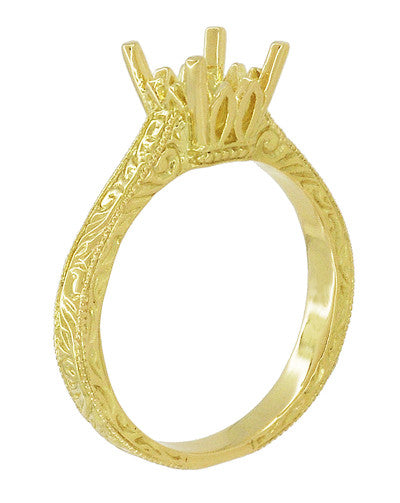 Art Deco 1.50 - 1.75 Carat Crown Filigree Scrolls Engagement Ring Setting in 18 Karat Yellow Gold - Item: R199PRY125 - Image: 3