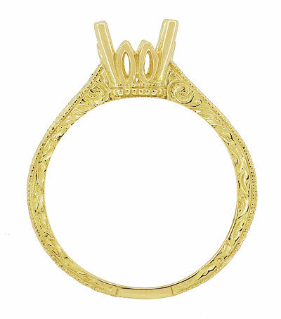 Art Deco 1.50 - 1.75 Carat Crown Filigree Scrolls Engagement Ring Setting in 18 Karat Yellow Gold - Item: R199PRY125 - Image: 4