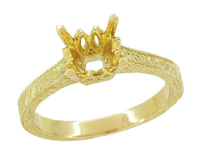 Art Deco 1.50 - 1.75 Carat Crown Filigree Scrolls Engagement Ring Setting in 18 Karat Yellow Gold - Item: R199PRY125 - Image: 1